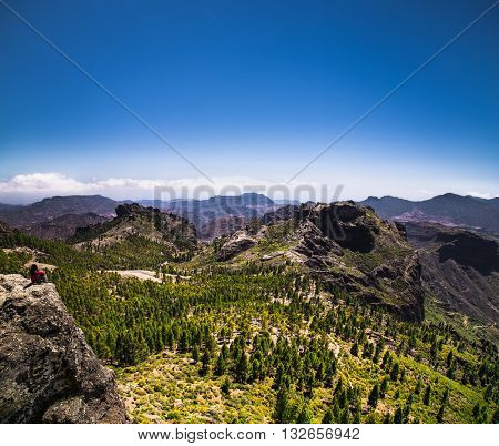 Panoramic view from Roque Nublo peak on Gran Canaria Island, Spain.