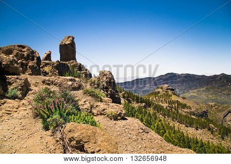 Panoramic view from  Pico de las Nieves the highest point on Gran Canaria , Spain.