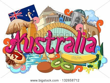 vector illustration of Doodle showing Architecture and Culture of Australia
