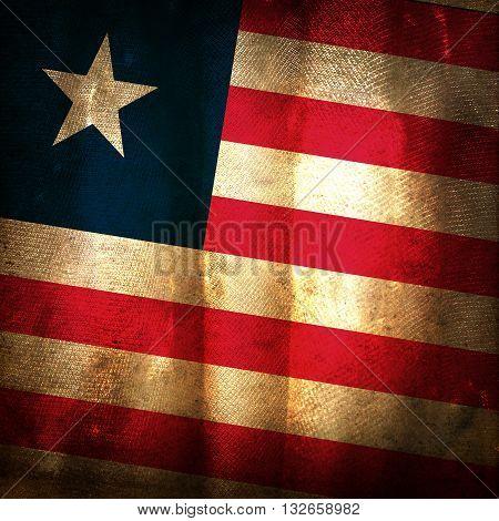 The old vintage grunge flag of Liberia