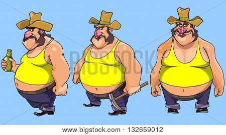 cartoon character cowboy bellied man in various poses