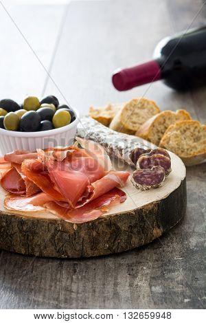 Spanish serrano ham and sausages  on trunk