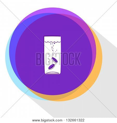 glass with tablets. Internet template. Vector icon.