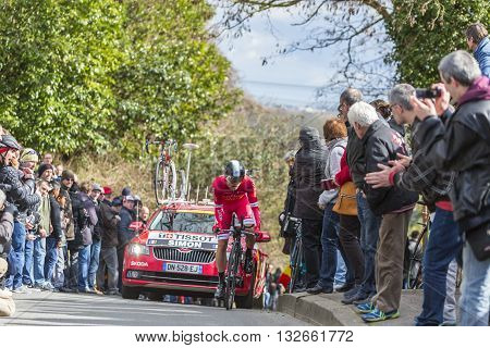 Conflans-Sainte-Honorine, France-March 6,2016: The French cyclist Julien Simon of Cofidis Team riding during the prologue stage of Paris-Nice 2016.