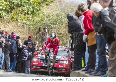 Conflans-Sainte-HonorineFrance-March 62016: The French cyclist Julien Simon of Cofidis Team riding during the prologue stage of Paris-Nice 2016.