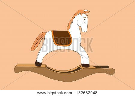 vector illustration of wooden rocking horse toy. eps 10