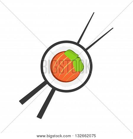 Sushi roll with chopsticks logo, sushi logotype, sushi bar symbol, sushi roll flat icon, sushi close up emblem, cartoon vector illustration modern simple design isolated on white background