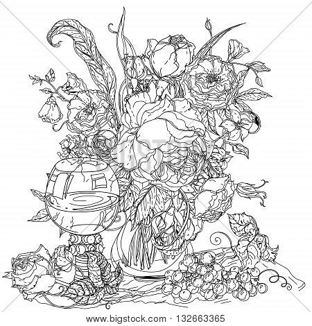 Artistic uncolored still life, vintage glass, bunch of grapes, luxurious bouquet for Adult coloring book in famous zenart style. Hand-drawn, doodle, vector for design, textiles, cards, coloring book