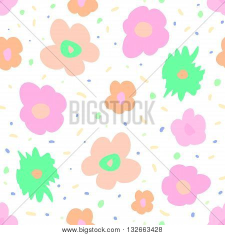 Fantasy seamless pattern with print of cute colorful flowers. Vivid pink blue orange and green artistic vector illustration. Bright freehand floral wrapping.