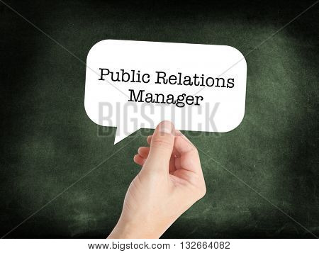 Public Relations Manager written in a speechbubble