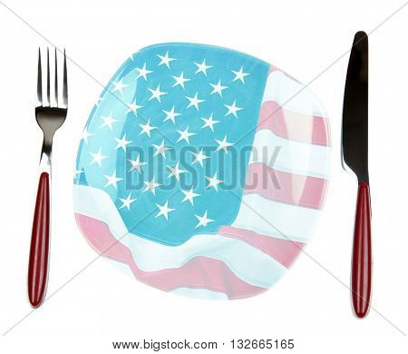 Plate with knife and fork, isolated on white. American cuisine food concept