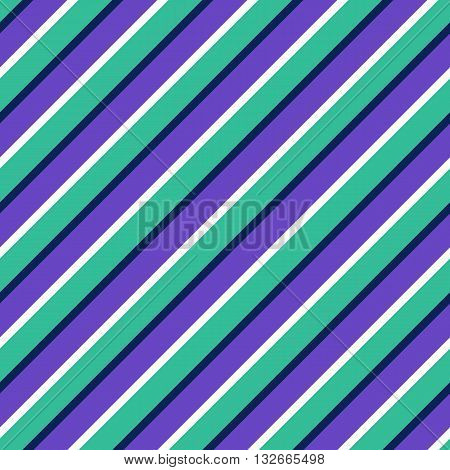 Seamless abstract pattern with diagonal multicolor lines. Striped colorful artistic vector illustration for design. Endless blue white and purple wrapping.