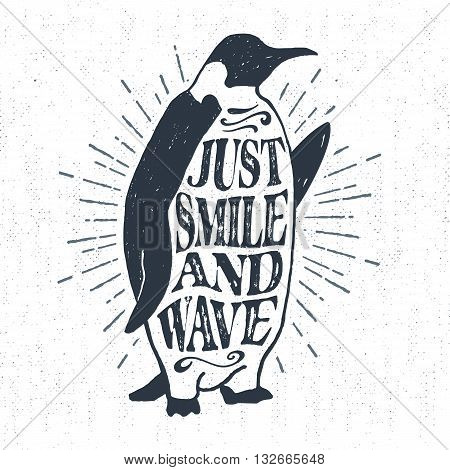 Hand drawn textured vintage label retro badge with emperor penguin vector illustration and