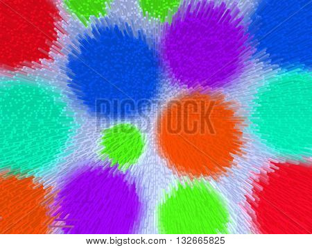 Abstract colorful background squeezing extruded multicolored bright geometric shapes circles illustration