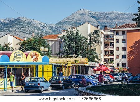 Trebinje Bosnia and Herzegovina - August 27 2015. Street with shops and houses in Trebinje