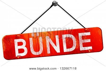 Bunde, 3D rendering, a red hanging sign