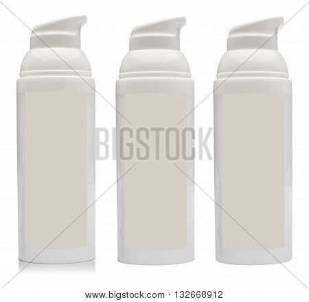Dosaging white plastic container for cosmetics. With blank label and reflection isolated on the white background.