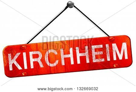 Kirchheim, 3D rendering, a red hanging sign