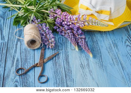 Garden Tools On Blue Background With Space For Text