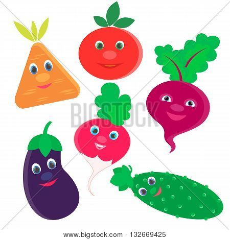 Fresh vegetables Radish Beet Carrot Eggplant Cucumber Tomato for logo and advertising grocery store and menu