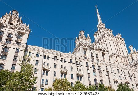 Moscow, Russia - September 23.2015. The hotel Radisson Royal Hotel, one of the seven Stalin skyscrapers