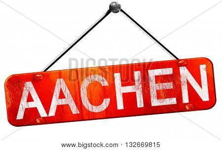 Aachen, 3D rendering, a red hanging sign