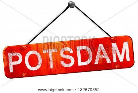 Potsdam, 3D rendering, a red hanging sign