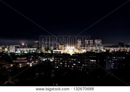 Night lights of the city of Novosibirsk