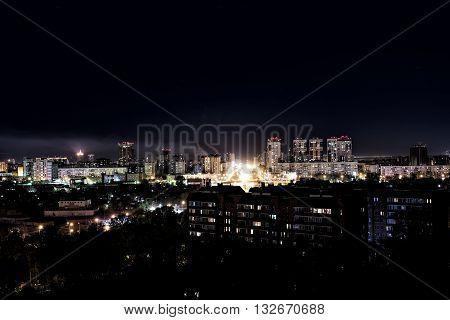 Night lights of the city of Novosibirsk