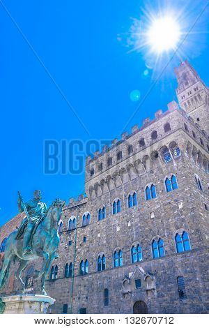 Palazzo Vecchio vertical view during sunny day, in Florence Italy, famous place in Europe.