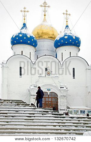 SERGIYEV POSAD RUSSIA - January 02.2010: Trinity Lavra of St. Sergius largest friary of the Russian orthodoxy church center of educational and publishing activity. Temple on territory of monastery