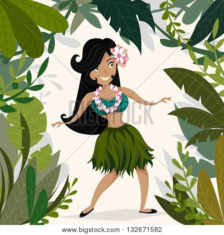 Hawaiian Aloha Party Invitation with Hawaiian hula dancing girl in tropical jungle with palm trees and leaves. Cartoon vector illustration. Design concept for flyer, poster or greeting card