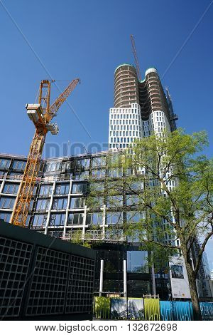 BERLIN, GERMANY - MAY 10, 2016: Construction Site of the Upper West a hotel and office building at the Breitscheidplatz in Berlin