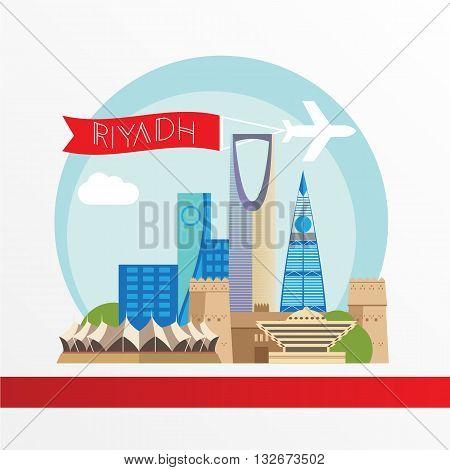 Riyadh detailed silhouette. Trendy stylish colorful landmarks. The concept for a web banner. Masmak Fortress and Kingdom tower - The symbol of Riyadh Saudi Arabia