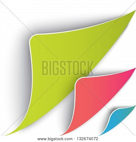 Colorful set of page with round corners. Realistic vector. Flip the page concept. Green pink and blue