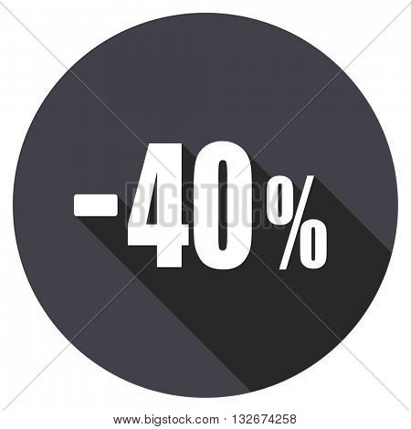40 percent sale retail vector icon, circle flat design internet button, web and mobile app illustration