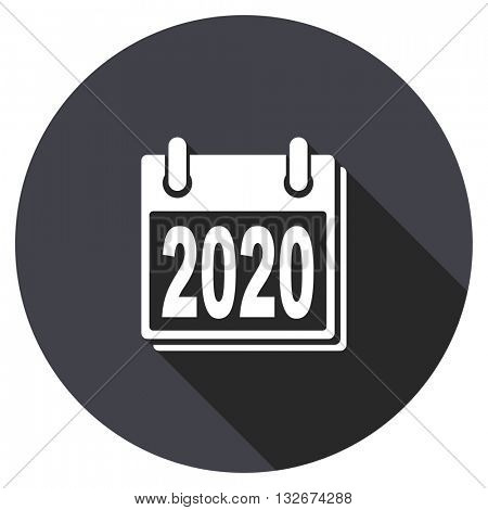 new year 2020 vector icon, circle flat design internet button, web and mobile app illustration