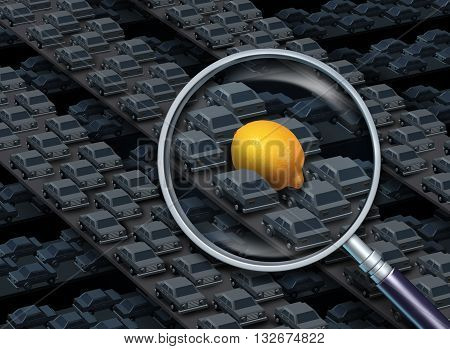 Driving a lemon car concept as a magnifying glass focusing on a group of automobiles on a highway with a yellow citrus fruit as a vehicle as a symbol for defective auto with 3D illustration elements.