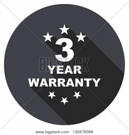 warranty guarantee 3 year vector icon, circle flat design internet button, web and mobile app illustration