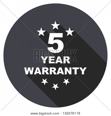 warranty guarantee 5 year vector icon, circle flat design internet button, web and mobile app illustration