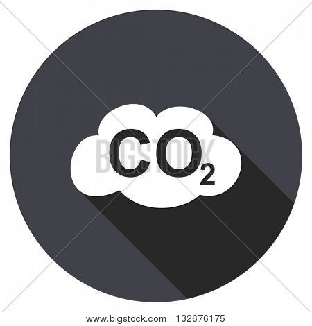carbon dioxide vector icon, circle flat design internet button, web and mobile app illustration