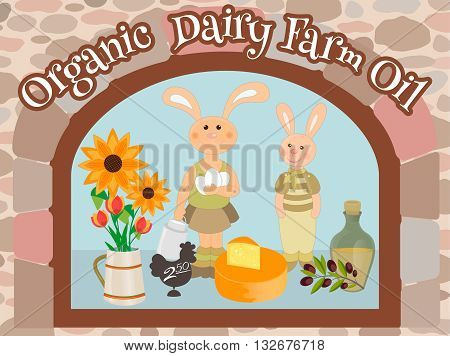 Organic Dairy Farm Oil showcase. Bunny in the window with dairy products and oil.
