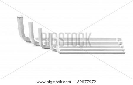 Hexagonal key steel tool for industry isolated on white background