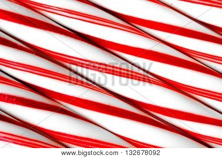 Closeup Of Peppermint Candy Canes Side By Side.