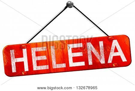helena, 3D rendering, a red hanging sign
