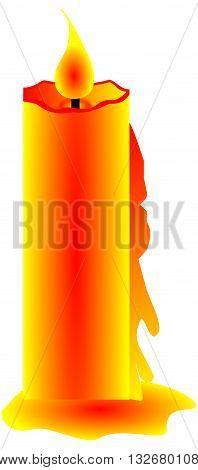 burning candle , Christmas candle , orange candle