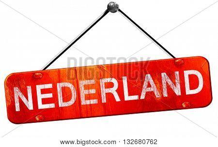 Nederland, 3D rendering, a red hanging sign