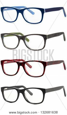 set spectacles isolated on white background in various colors