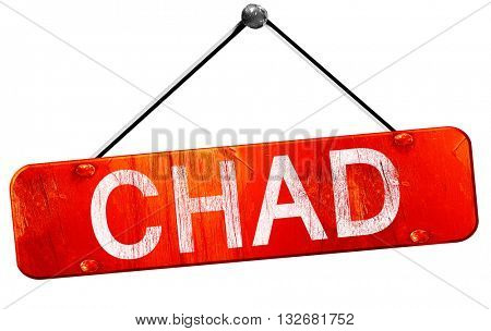 Chad, 3D rendering, a red hanging sign