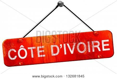 Cote d ivoire, 3D rendering, a red hanging sign